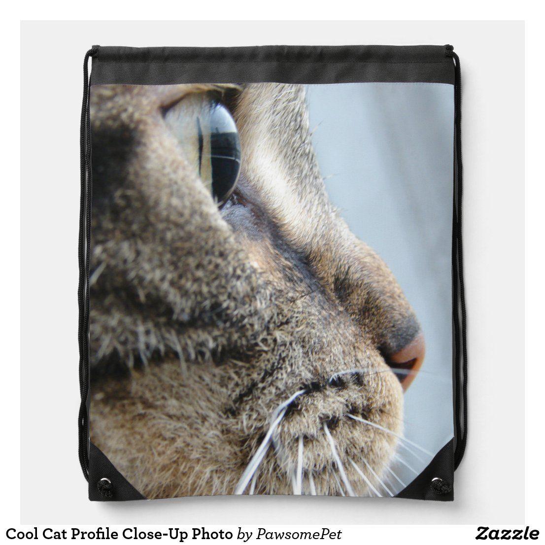 Cool Cat Profile Close Up Photo Drawstring Bag Zazzle Com In 2020 Cat Profile Cool Cats Cats