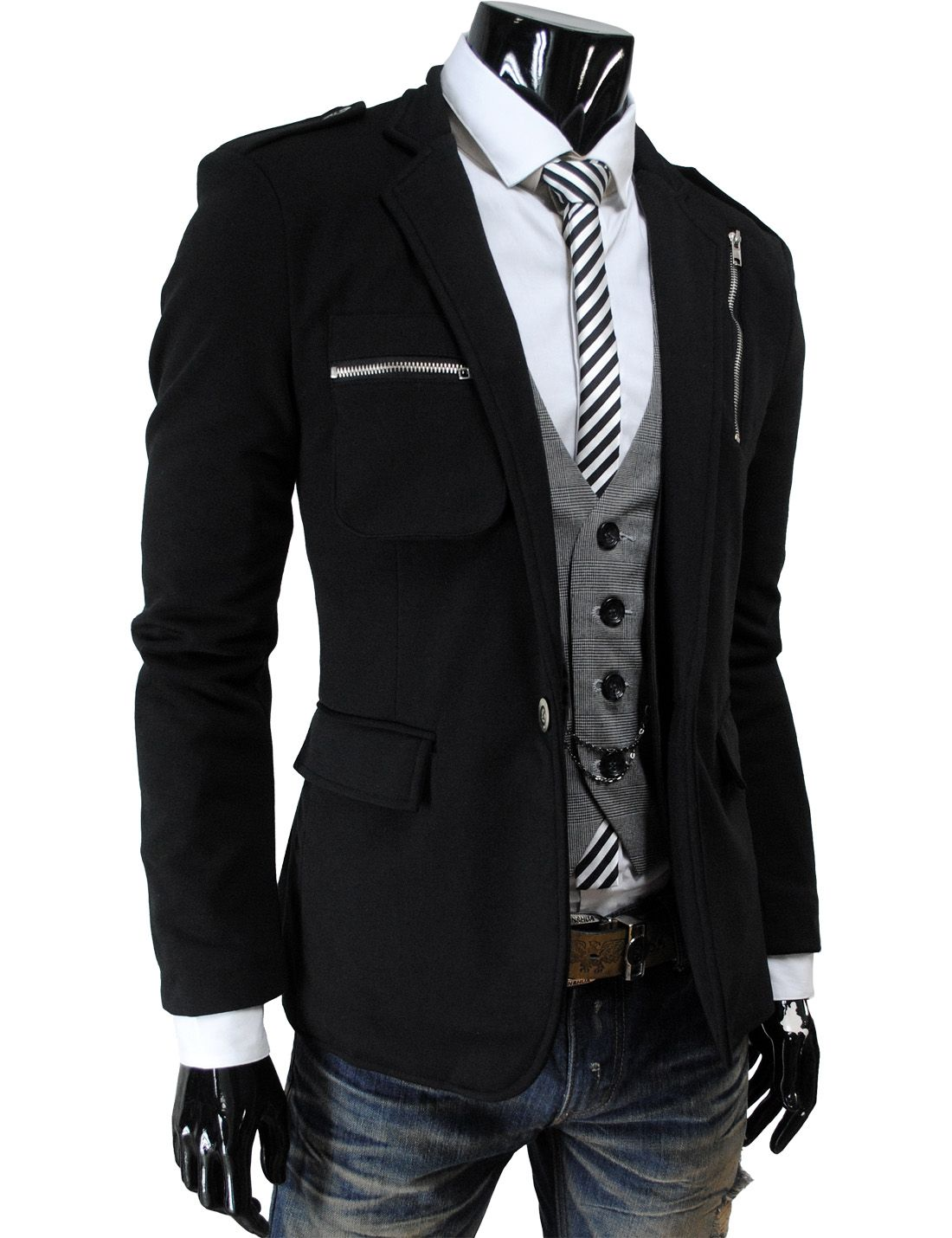 Mens Casual Zipper Point Slim Fit One Button Stretchy Blazer Jacket Mens Fashion Coat Mens Casual Suits Men Casual [ 1430 x 1100 Pixel ]