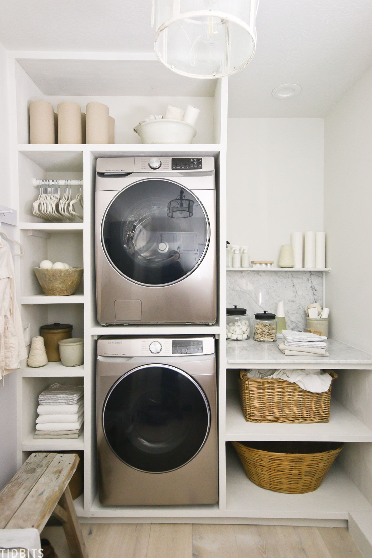 #ad Stacked Samsung washer and dryer in the color Champagne.  #europeanorganic #laundryroom #europeanstyle #homedepotpartner #homedepotxsamsung #ad #camitidbits