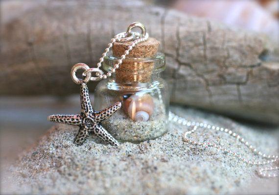 Miniature Glass Corked Bottle Beach Sand, Starfish, Sterling Silver Ball Chain Necklace. Find beach bottles, mini glass bottles, beach glass. charms, pearls & chains at www.eCrafty.com #ecrafty #beachbottlenecklace #diycrafts