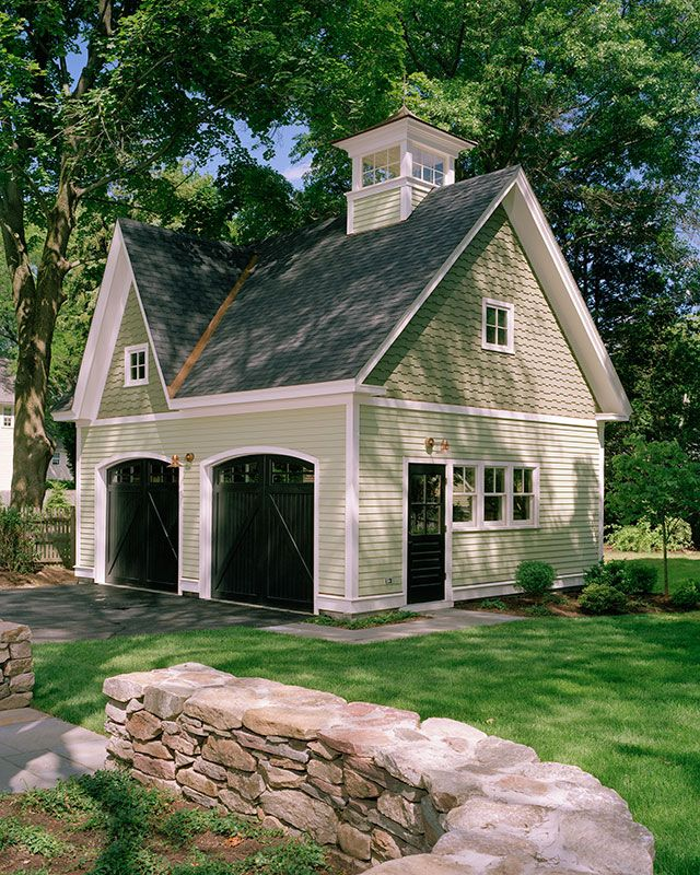 Detached 2 car garage with cross gable for victorian home for Carriage garage plans