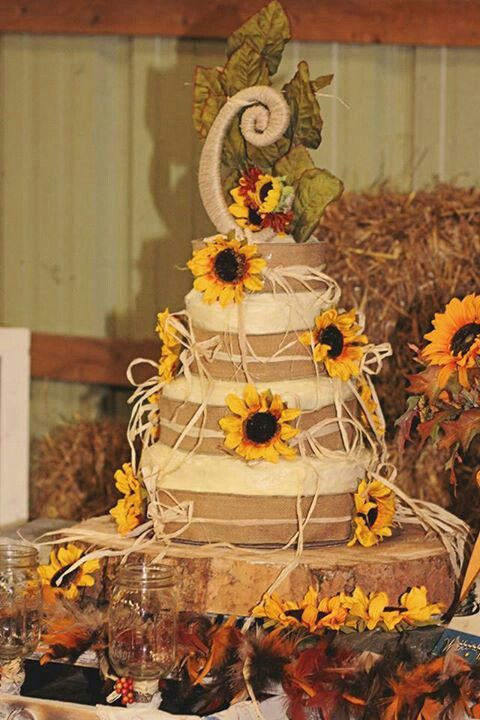 Rustic Country Sunflower Wedding Cake Did It All For Jen