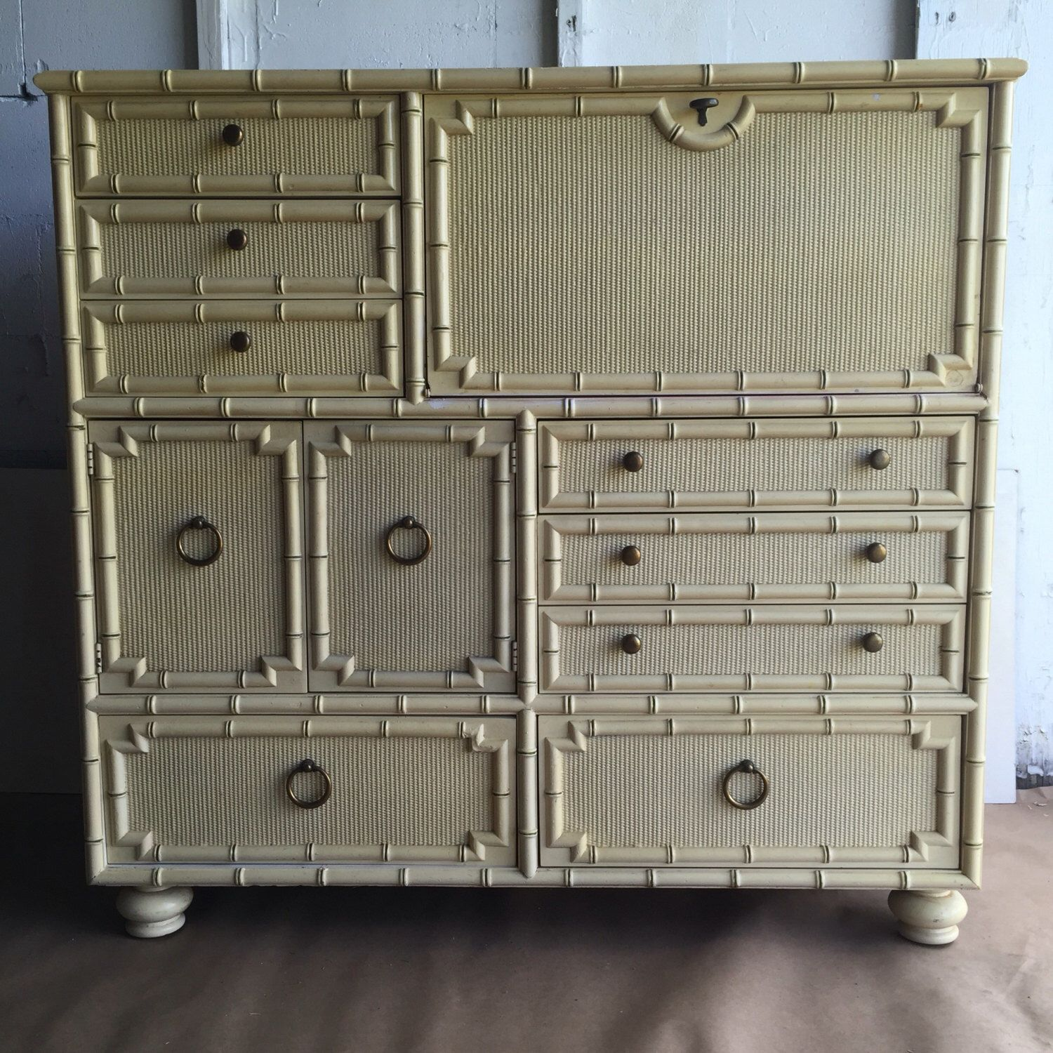 Vintage Drexel Faux Bamboo Cabinet Armoire Dresser With