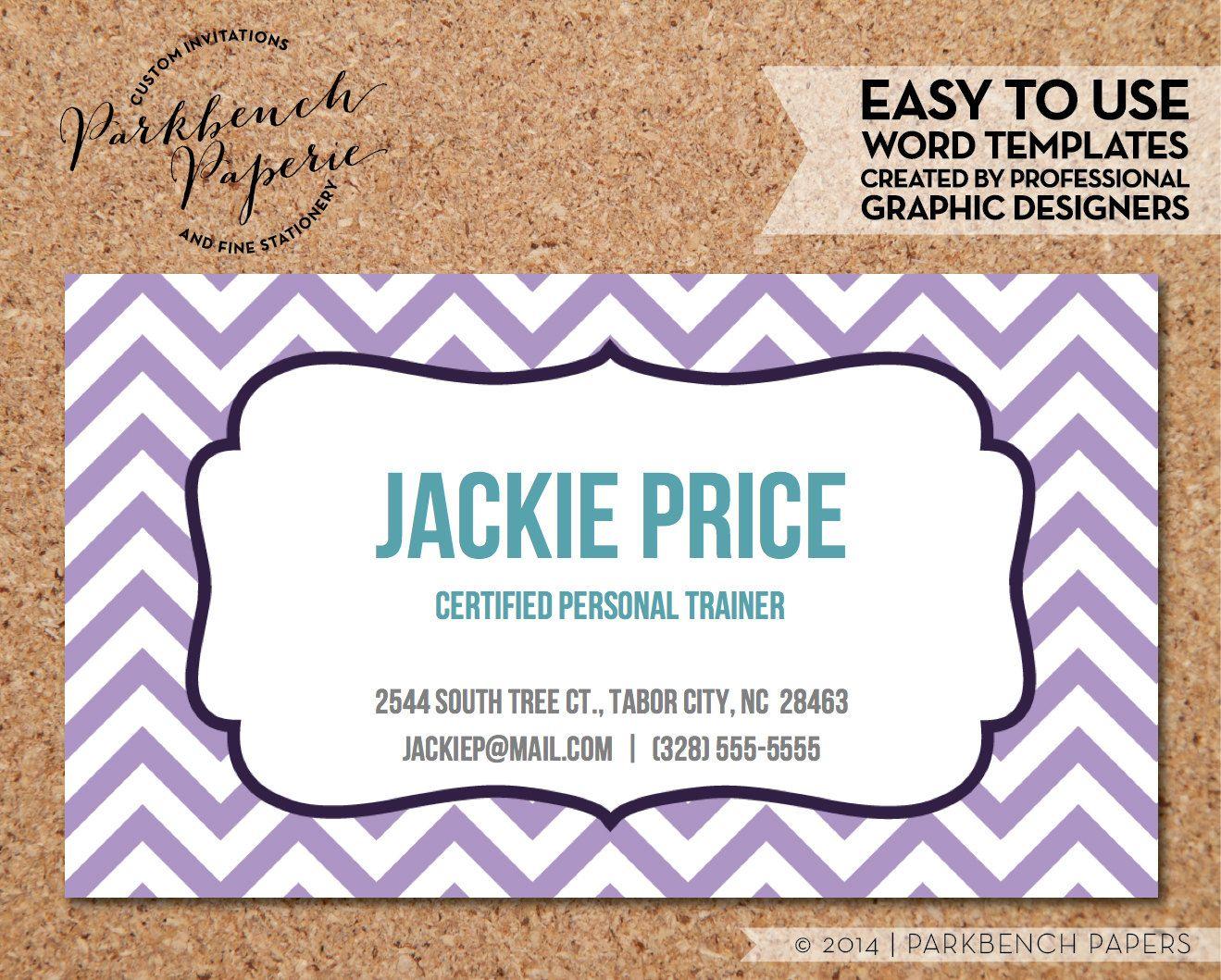 Business Card Template Lavender Chevron & Frame DIY