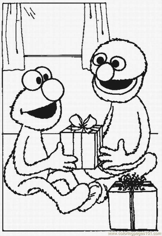 Elmo And Grover Exchange Christmas Gifts Coloring Page Elmo