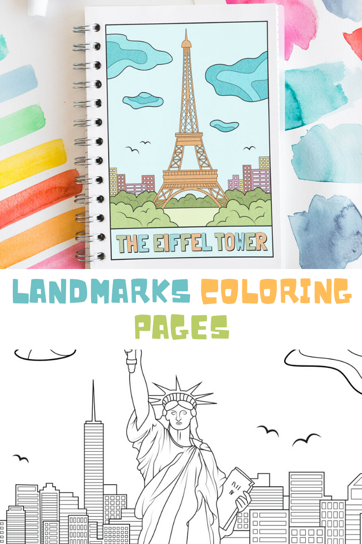 Landmark Coloring Pages Printable Travel Coloring Book Etsy Coloring Pages Coloring Pages For Kids Color Activities