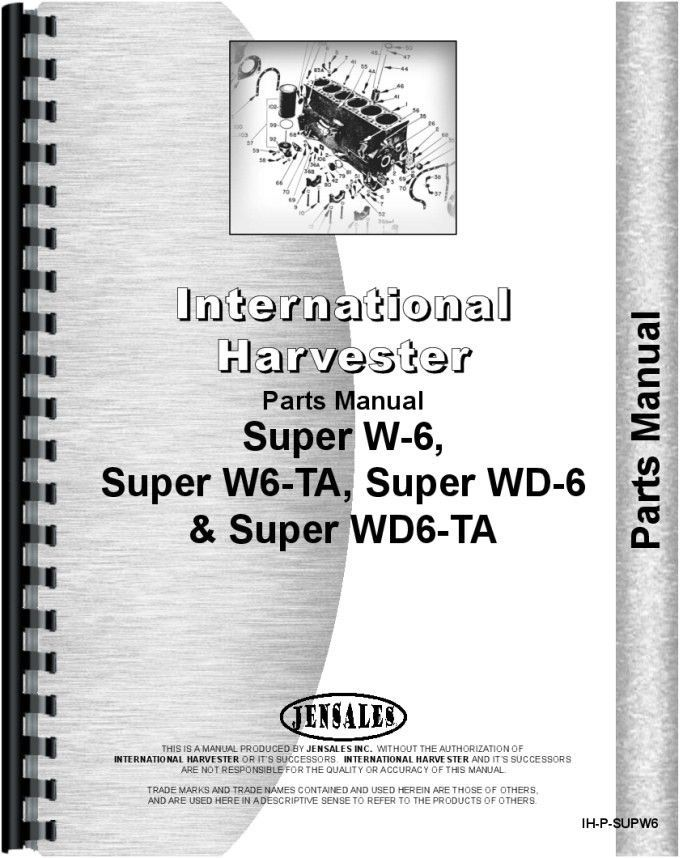 Farmall Super Wd6ta Tractor Parts Manual Products Pinterest
