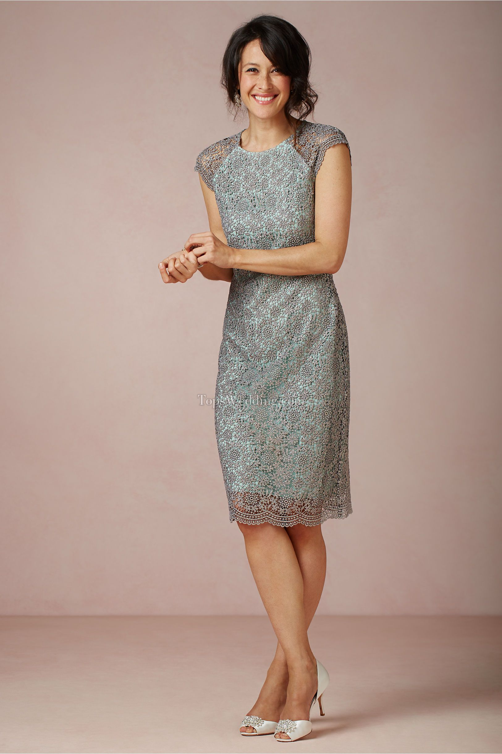 Modest teal knee-length mother of the bride dresses with short ...