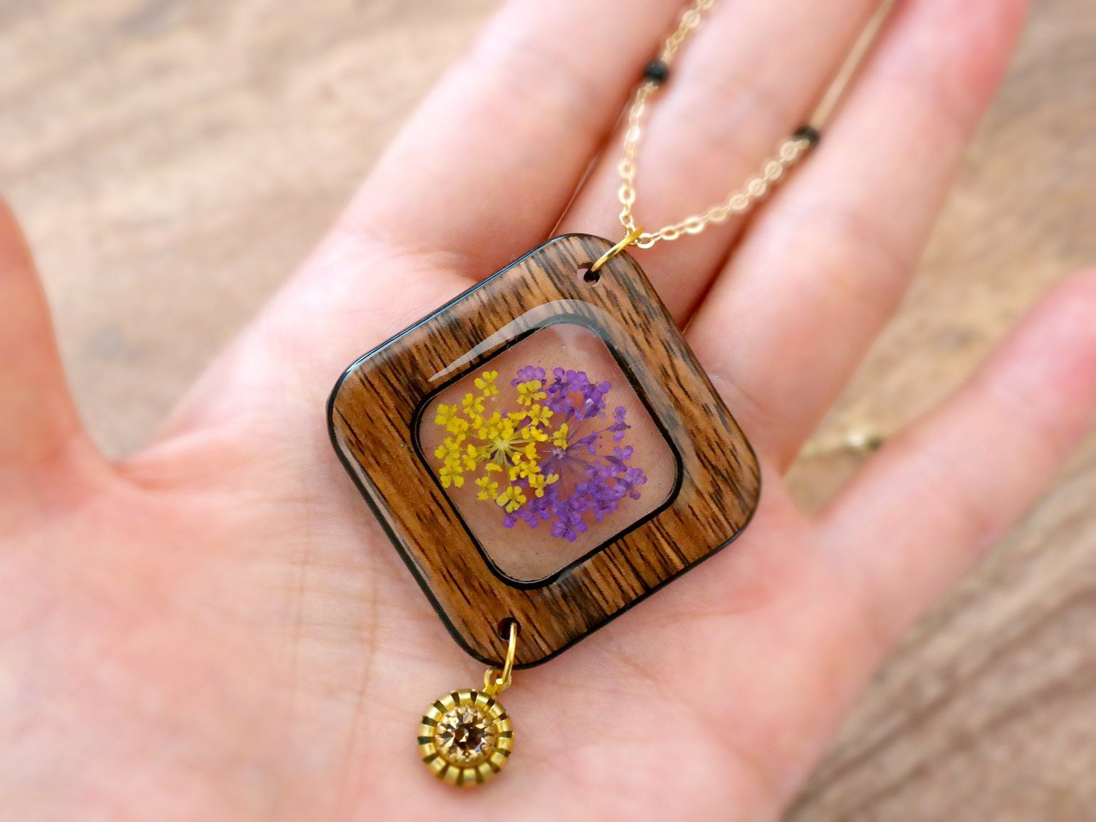 Clear resin necklace pressed flower jewelry queen annes