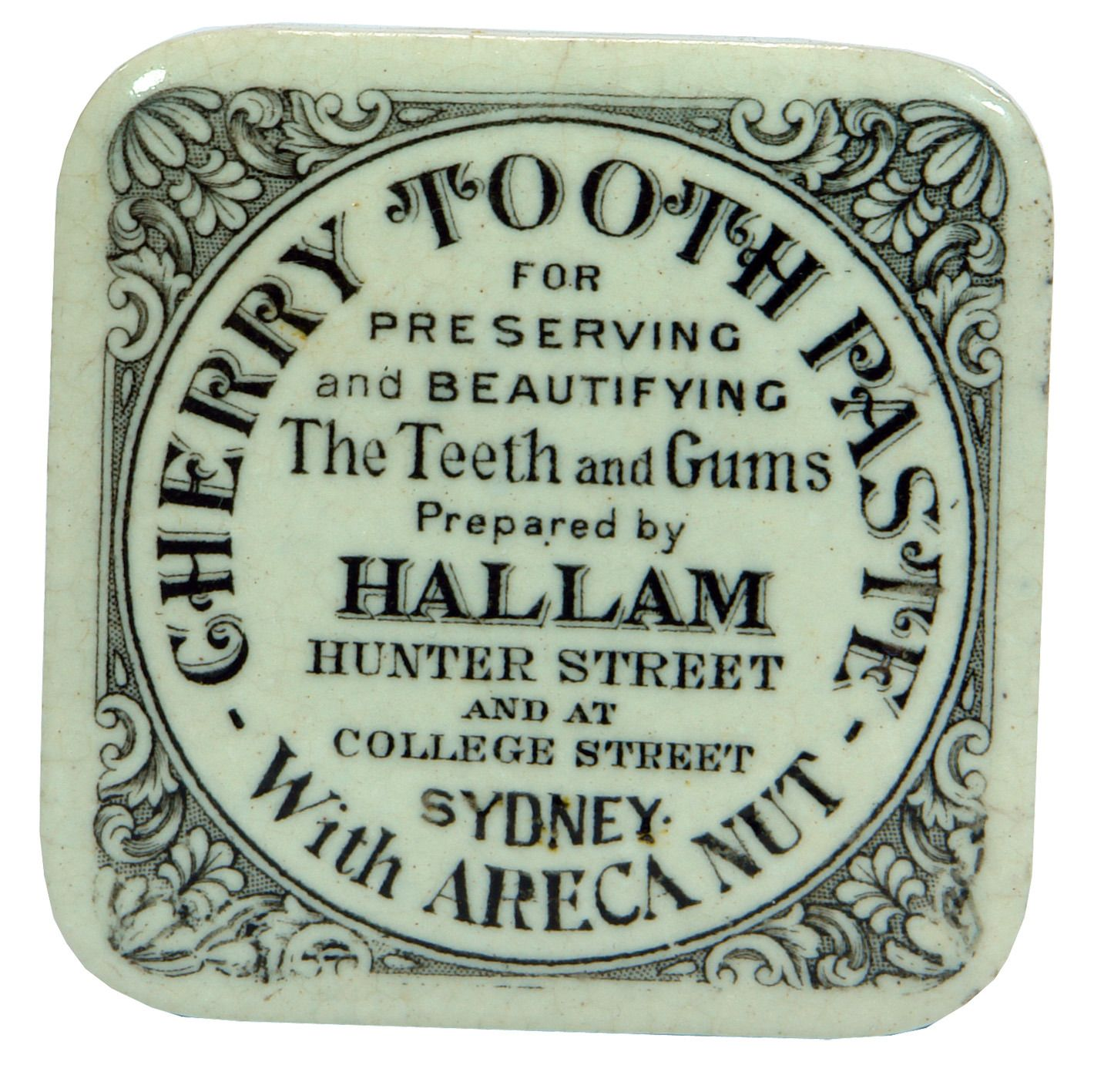 Hallam Cherry Tooth Paste Pot Lid Hunter Street & College ...