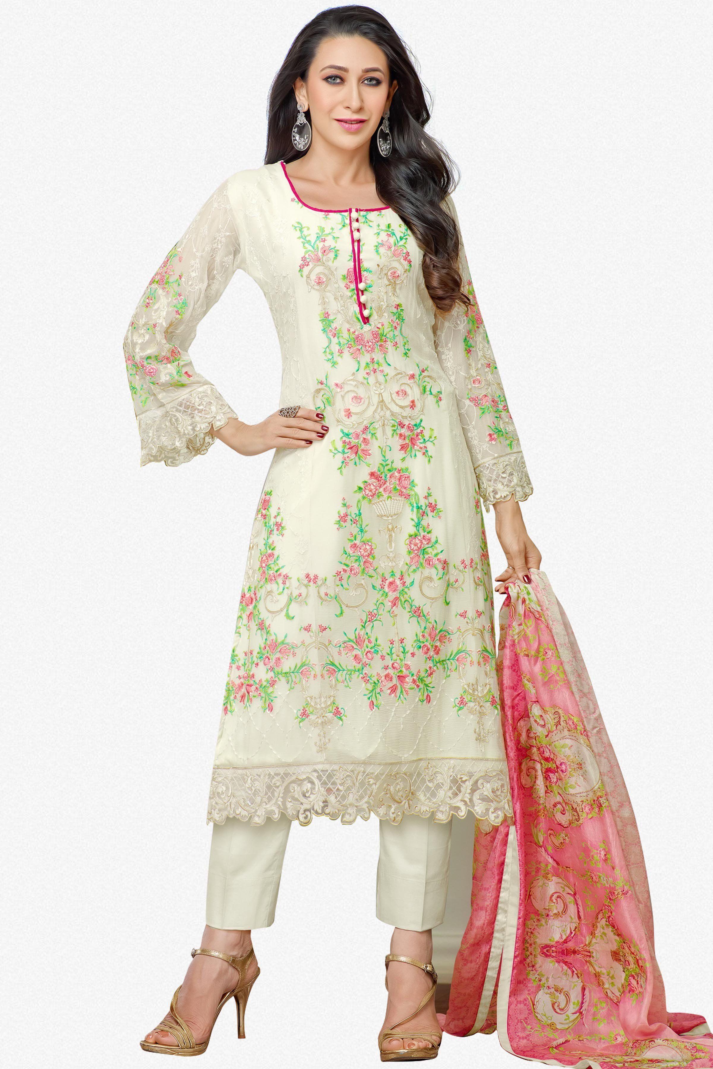 e6e1c49229 The karishma Kapoor Collection!:atisundar enticing Off White Designer  Straight Cut - 7861