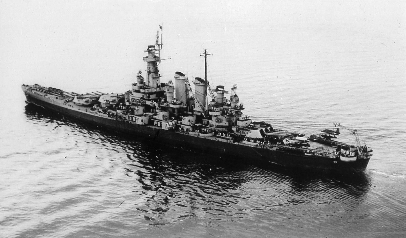 Uss Washington Bb56 Seen After Her Repairs And Refit In