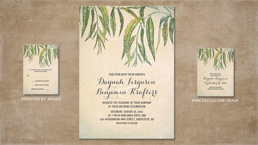 vintage rustic wedding invitation featuring gum tree leaves and, Wedding invitations