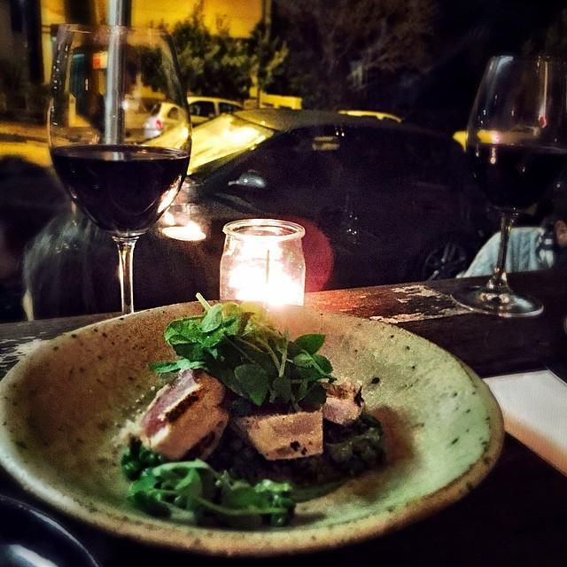Trying out the local! Seared albacore tuna, crushed peas & watercress (oh + red wine & a c… http://ift.tt/1CjqVI9
