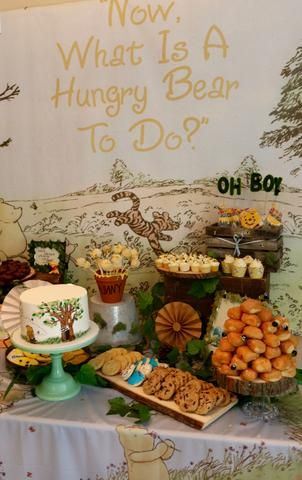 Vintage Winnie The Pooh Baby Shower Using Backdrops To Create The