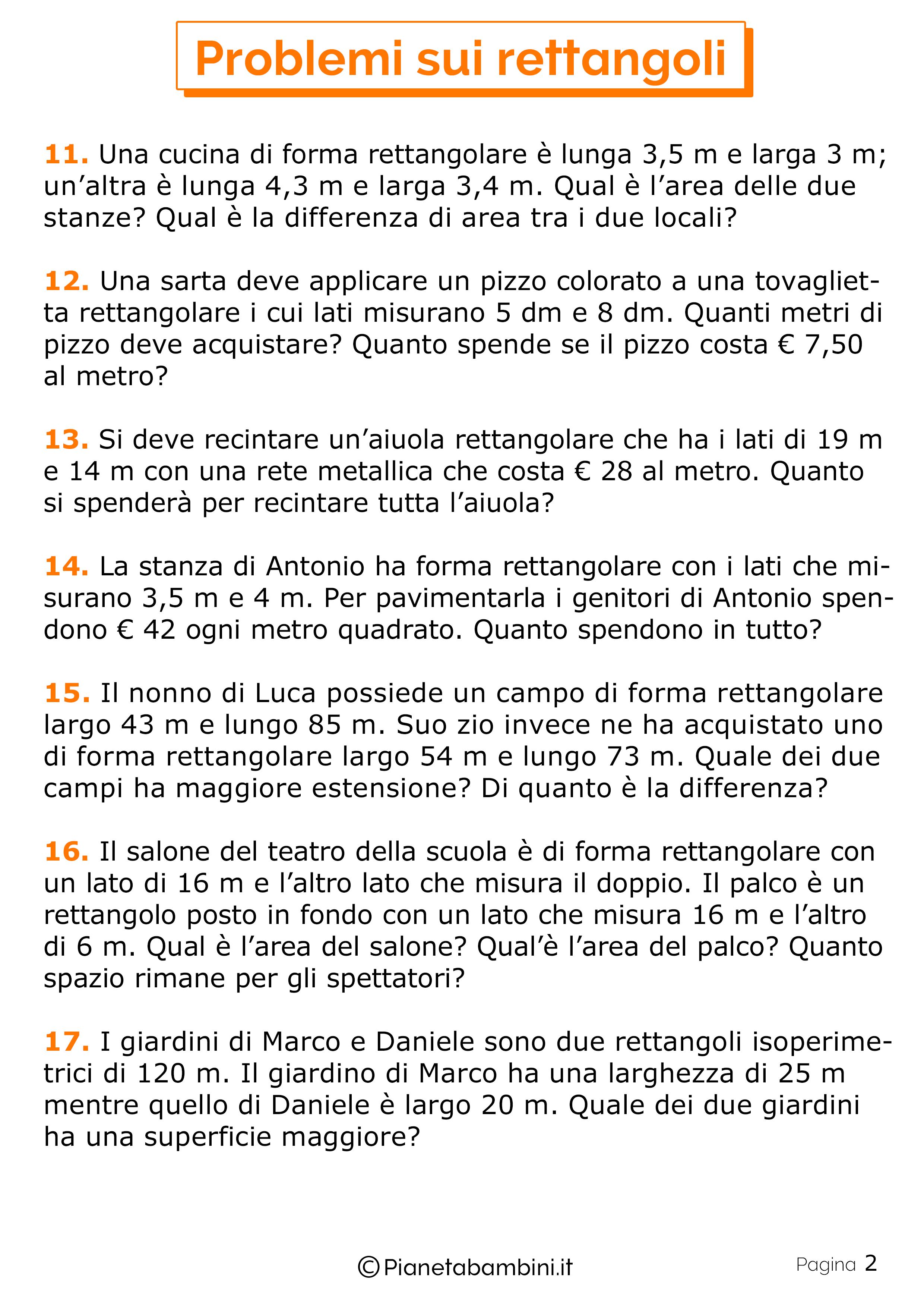 22 Problemi sui Rettangoli per la Scuola Primaria ...