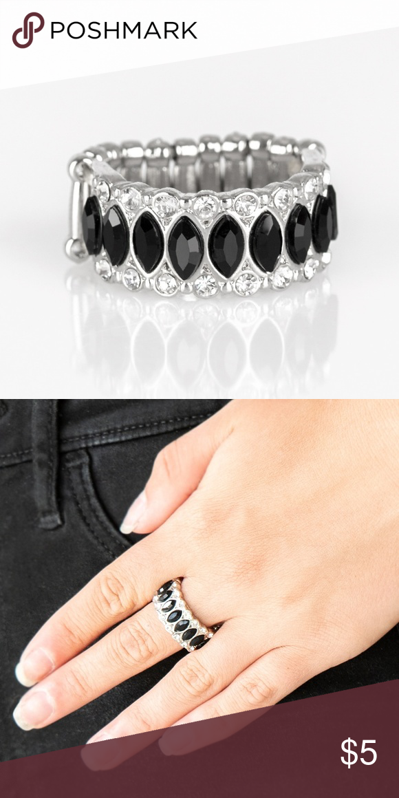 Black Ring Paparazzi Radical Riches Black Ring Stretchable Band Will Fit Most Paparazzi Jewelry Rings Black Rings Black Rhinestone Silver Band
