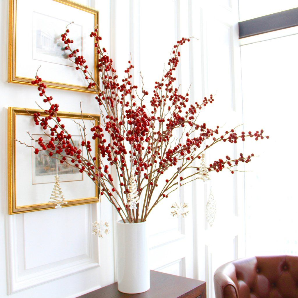 tall red berries branch bunch of 6 stems Flowers uk