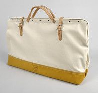 "24"" CANVAS MASON BAG WITH LEATHER BOTTOM (NO. 300) :"