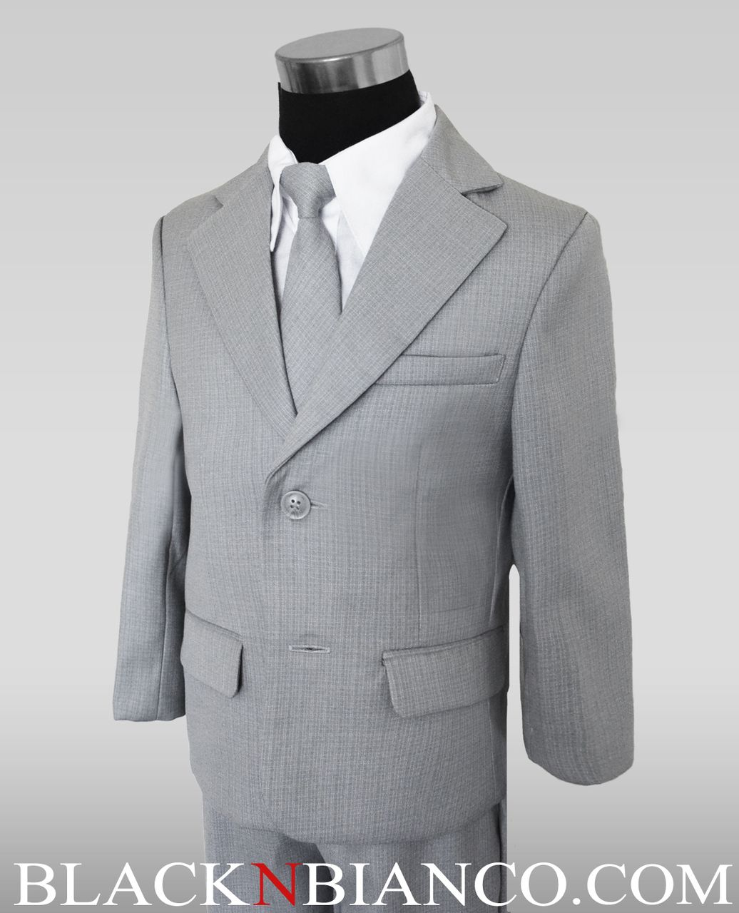928974a398aa85 Black N Bianco - Boys 2 Button Light Gray Suit Complete Outfit Dresswear,  $49.99 (