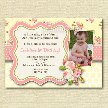 Shabby Chic Pink Roses with Yellow Polka Dots Photo Birthday Party