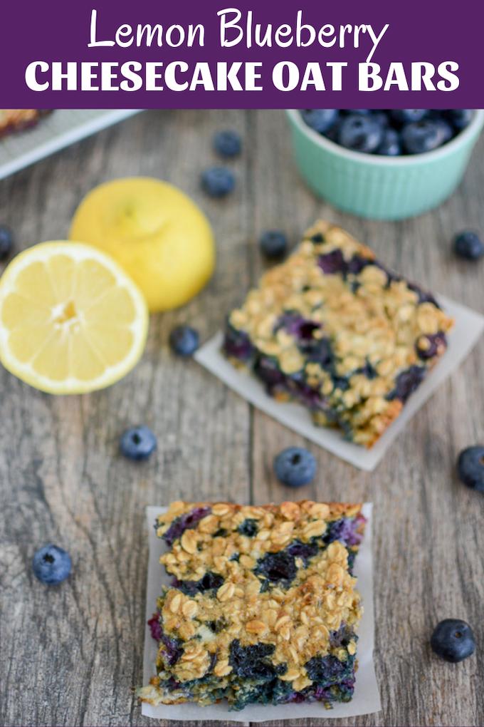 Lemon Blueberry Cheesecake Oat Bars #lemonblueberrycheesecake