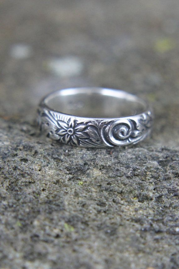 293288b7ca7ee Sterling Silver Wedding Band, Embossed Flower and Wave Pattern ...
