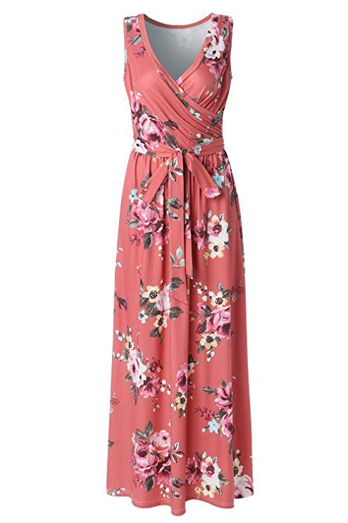 f14b6eccecf Zattcas Womens Bohemian Printed Wrap Bodice Sleeveless Crossover Maxi Dress  at Amazon Women s Clothing store