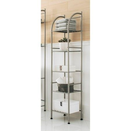 Threshold Metal Towel Tower Brushed Nickel Target Bathroom Storage Shelves Bathroom Shelf Decor Storing Towels
