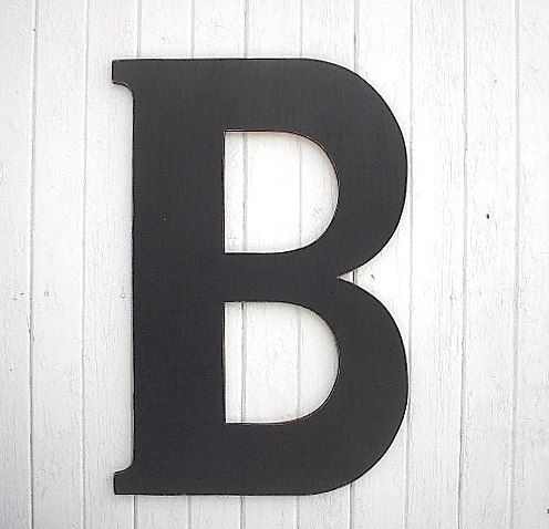 black wooden wall letter b 36 wedding guest book art