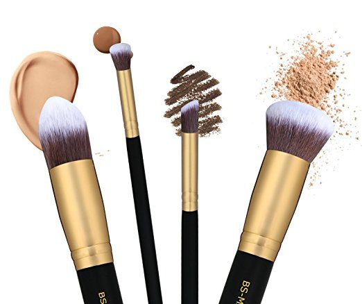 23.97$ Amazon.com: BS-MALL(TM) Makeup Brushes Premium Makeup Brush Set Synthetic Kabuki Cosmetics Foundation Blending Blush Eyeliner Face Powder Brush Makeup Brush Kit (10pcs, Golden Black): Beauty