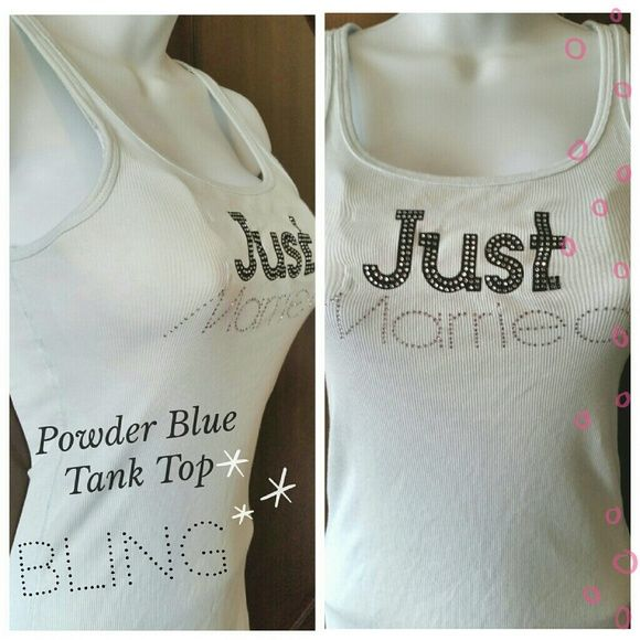 """Victoria's Secret Tank Top Victoria's Secret """"Just Married"""" tank top from the I DO COLLECTION in powder blue. Top has a little bling in the lettering and is size Medium. *Note: I'm a 38D and you can see it's a bit """"stretched"""" in the bust. So, keep that in mind if interested.  Worn only once on my honeymoon. Excellent condition. ?  ??Follow me: ??Twitter - @mars_posh  * No PP or trades * Smoke-free home * No lowballing Victoria's Secret Tops Tank Tops"""