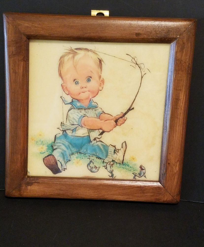 Vintage Framed Pete Hawley Print Little Boy Fishing Nursery Decor ...