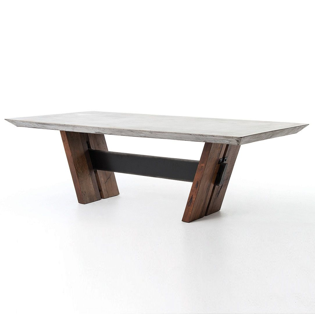 concrete and wood furniture. (https://www.zinhome.com/bonham-reclaimed-wood-and-concrete-top-dining-table /) Concrete And Wood Furniture B