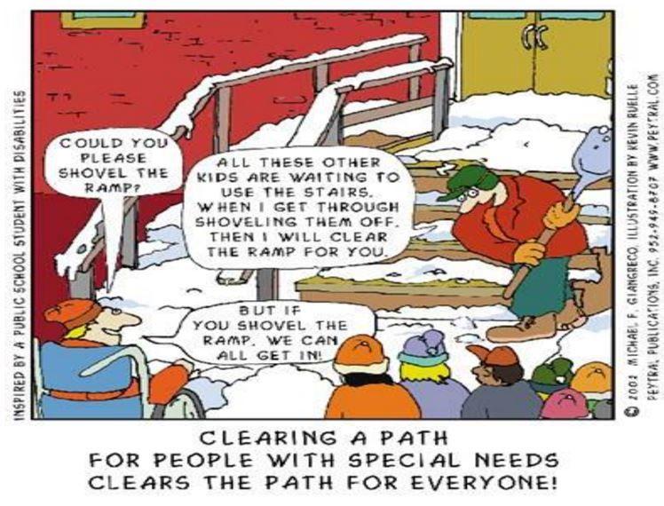 Shovel The Ramp Inclusion Classroom Inclusive Education Cartoon