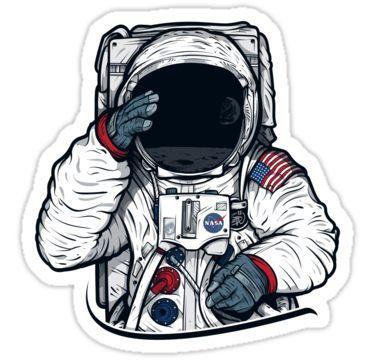 Apollo Lunar Mission Astronaut Illustration (SPACE YO) Sticker by Fragoutdesign
