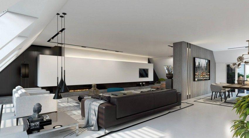 minimalistisch anmutende Dachwohnung in Düsseldorf Wohnzimmer 3d Renderings