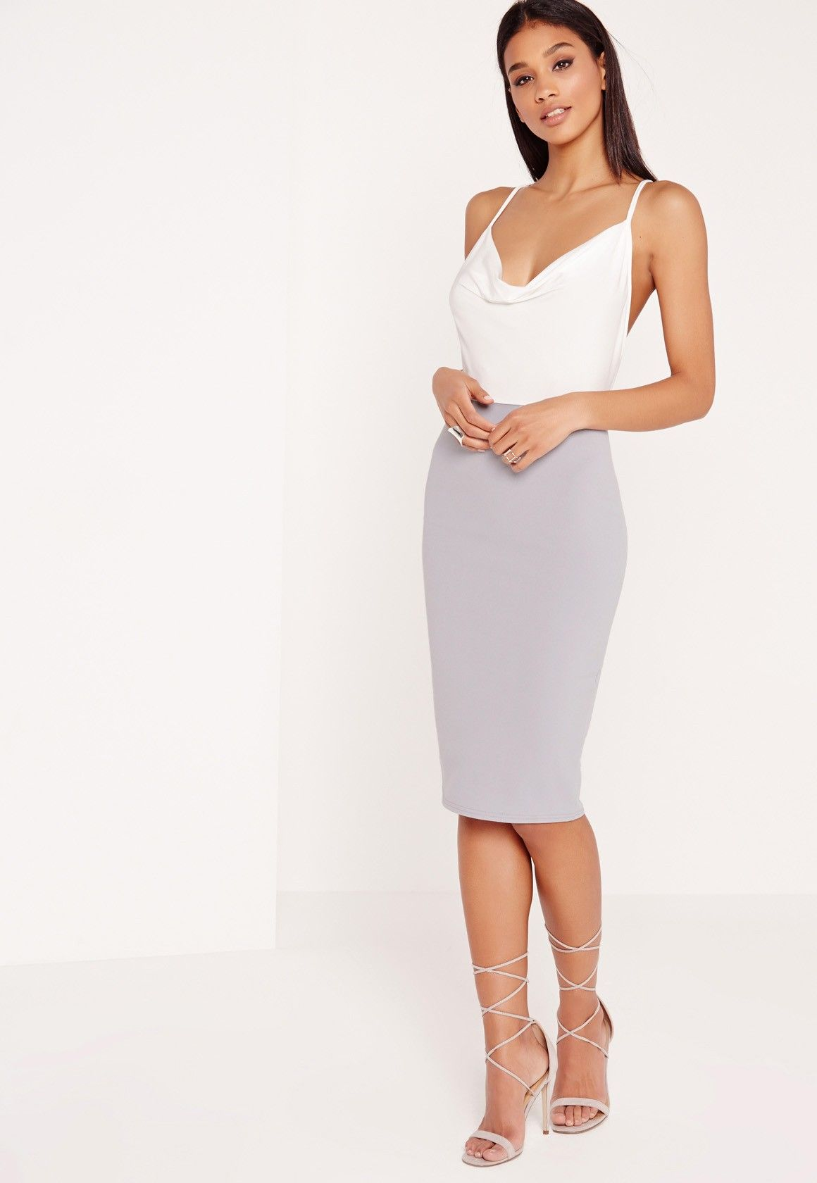 20bcceb402a Missguided - Contrast Cowl Neck Midi Dress Grey