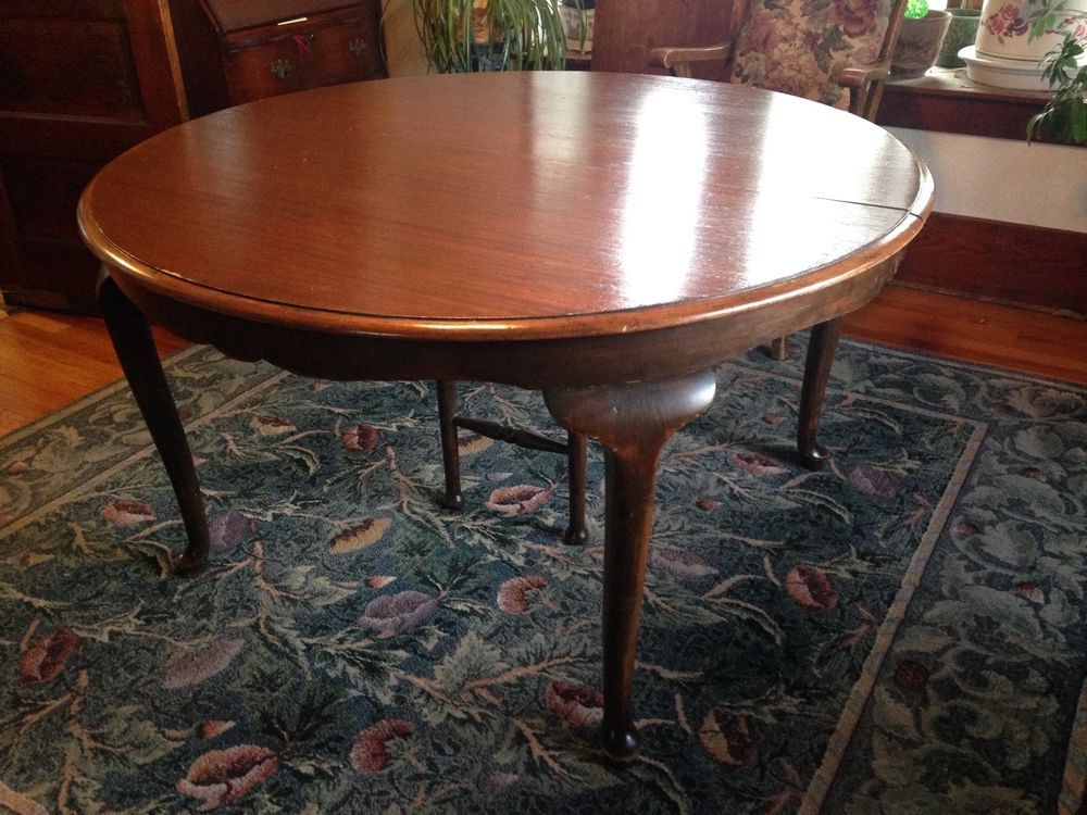 Antique 54 Round Queen Anne Style Dining Table Extendable