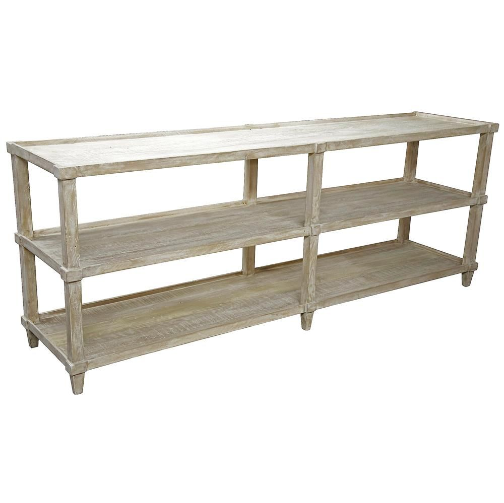 Wonderful Corrin French Country Rustic 3 Tier Reclaimed Console Table