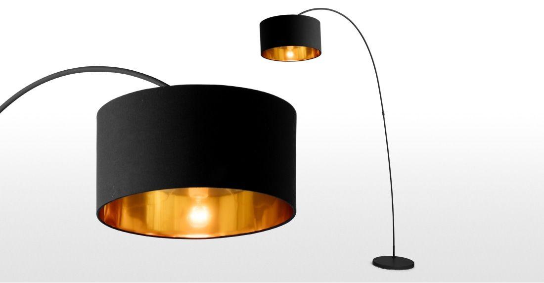 Sweep Staande Lamp In Matzwart Met Koper Lounge Dining