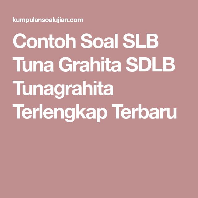 Contoh Soal Slb Tuna Grahita Sdlb Tunagrahita Terlengkap Terbaru