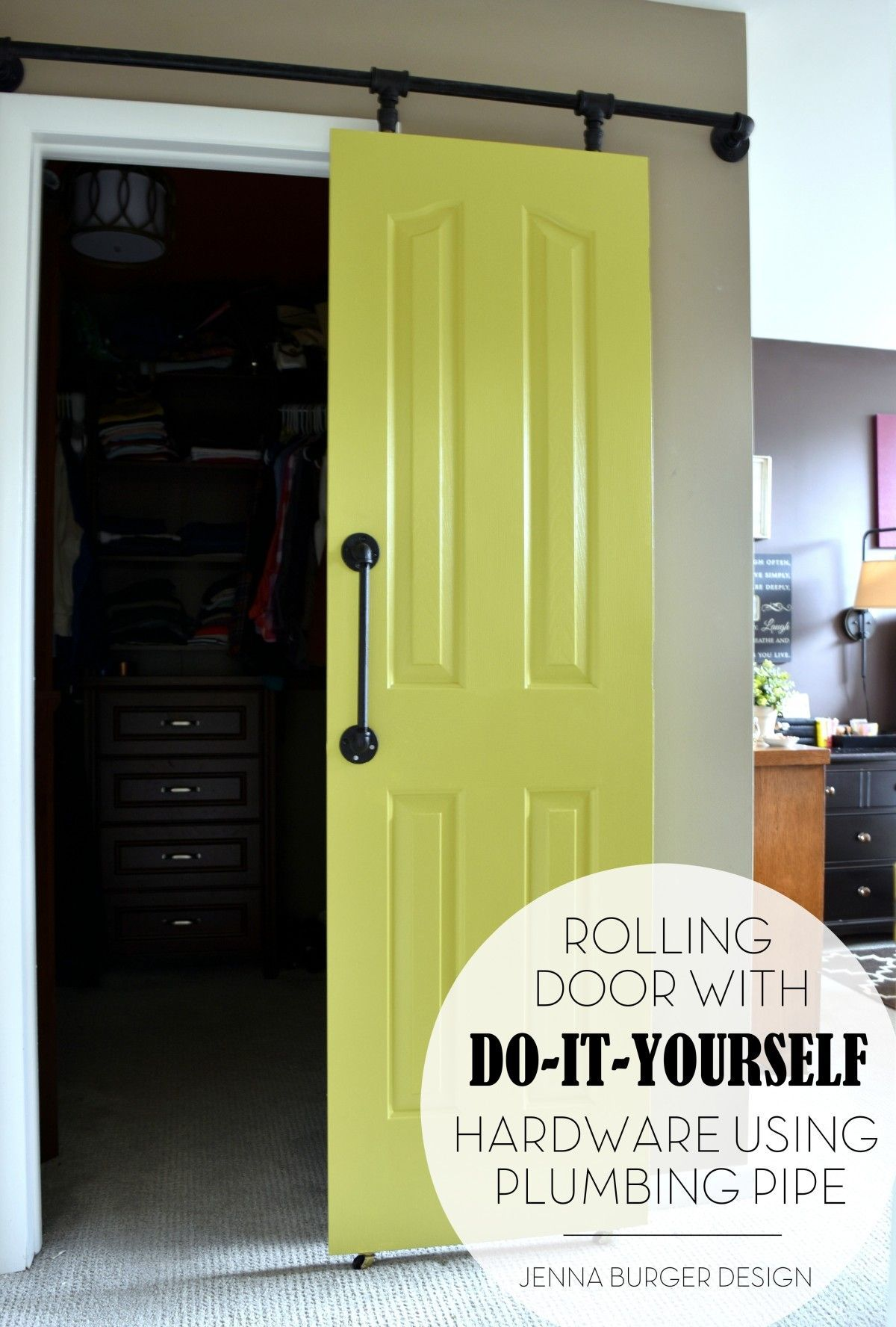 Diy rolling door hardware using plumbing pipe get the look function of a rolling door for about 60 custom size to fit your space tutorial by www