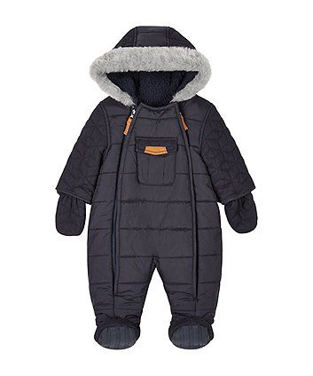 Navy Quilted Chenille Lined Snowsuit | Navy quilt, Babies clothes ... : quilted snowsuit for baby - Adamdwight.com