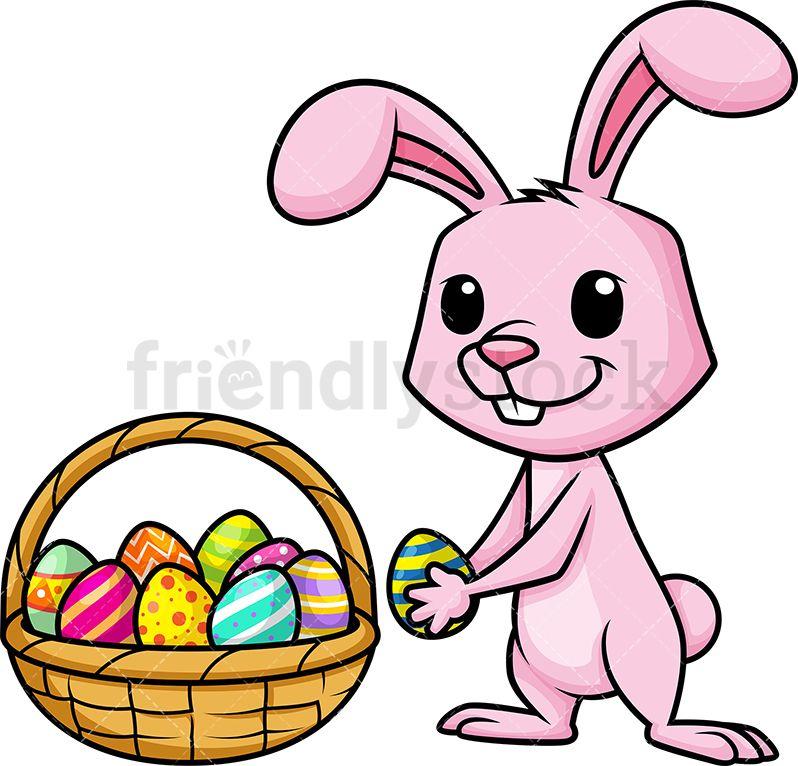 Bunny Collecting Easter Eggs Cartoon Vector Clipart Friendlystock Easter Egg Cartoon Cartoon Clip Art Cartoons Vector