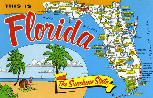Map Of Florida Tourist Attractions Florida Memory   Map of Florida pointing out various tourist