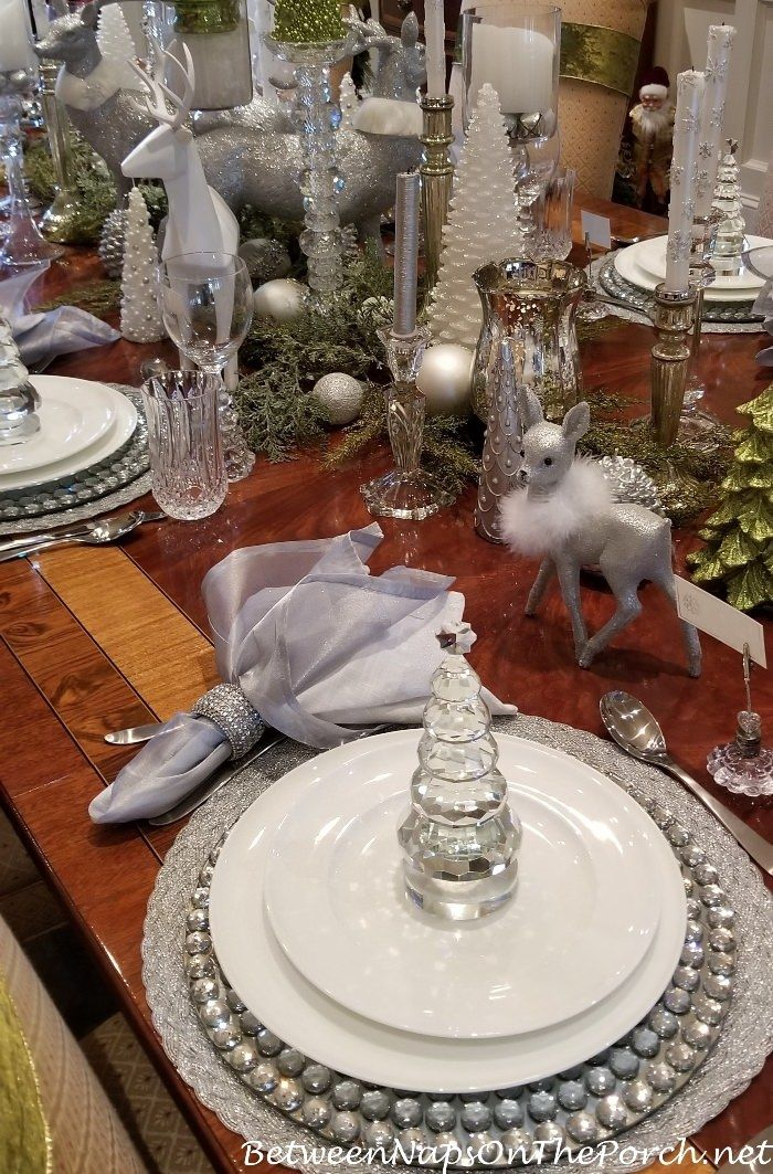 Green, White, Silver and Crystal for an Elegant Table Setting ...