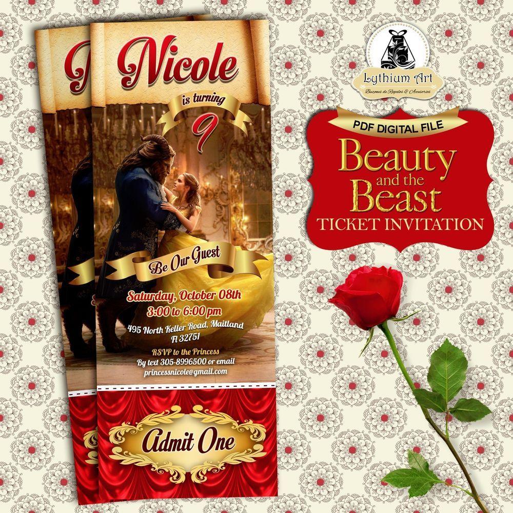 DIGITAL FILE - Beauty and The Beast Digital Ticket Invitation U ...