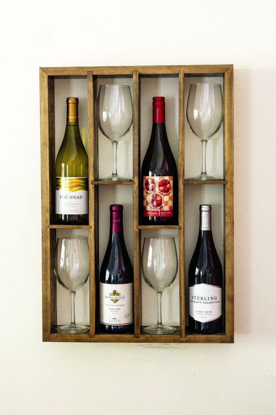Hand made wall mounted staggered wine rack