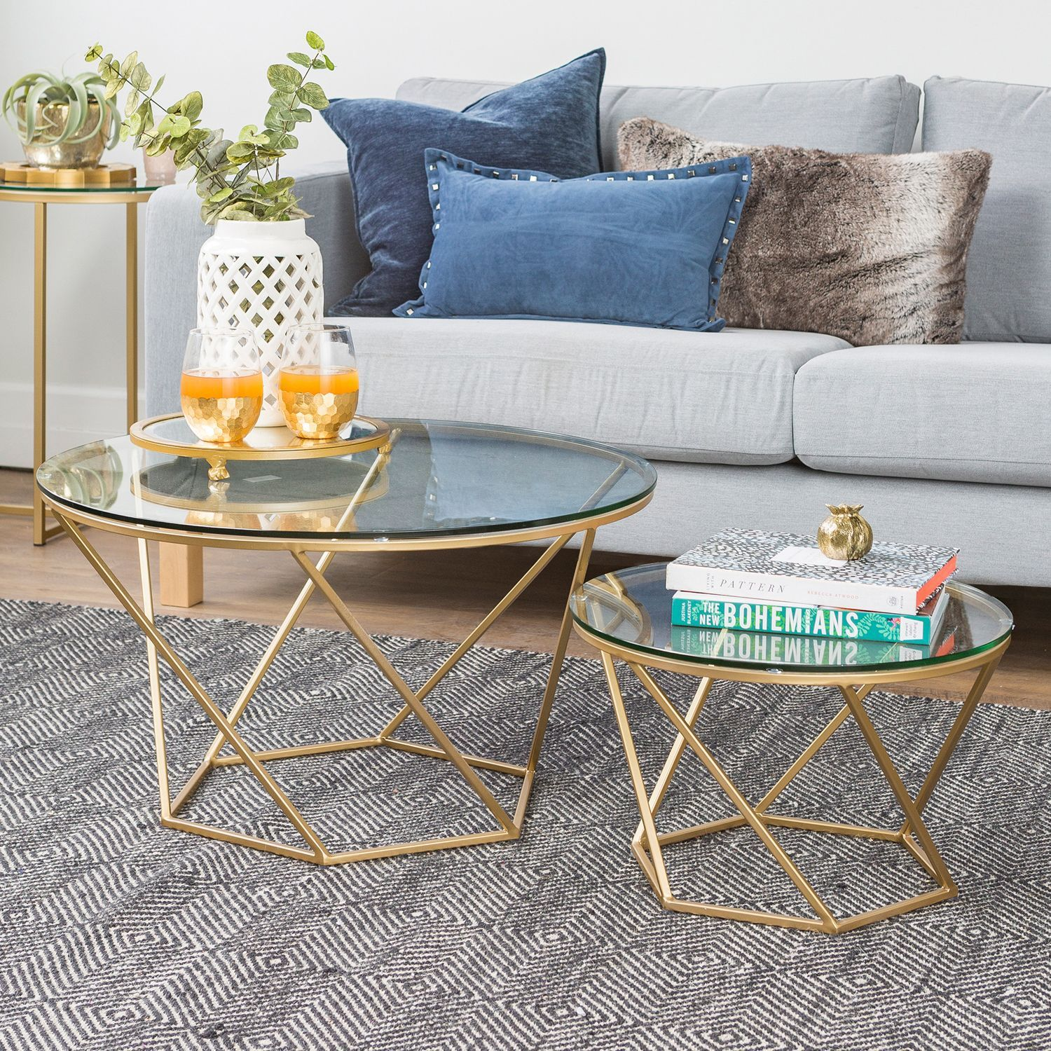 Geometric Gold Glass Nesting Coffee Tables Nesting Coffee Tables